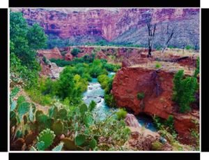 The Grand Canyon, Magical Havasu Creek Cascading Down By Gio - Stretched canvas print ready to hang
