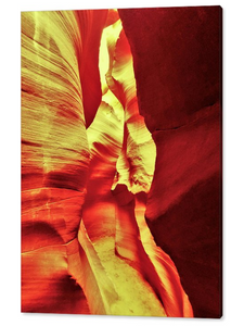 Antelope Canyon, The Reddish Yellow Path By Gio - Stretched canvas print ready to hang