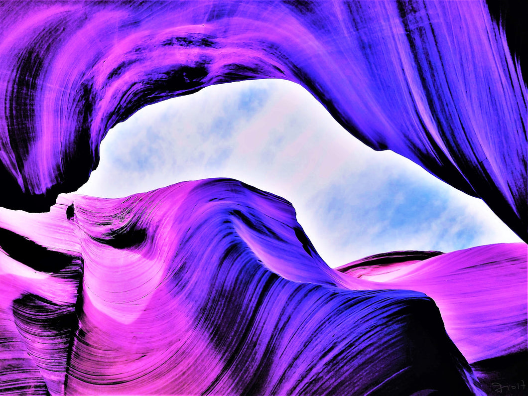 Antelope Canyon, Contours in Purple By Gio - Stretched canvas print ready to hang