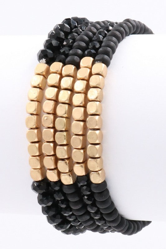 Sadie Black & Gold Beaded Bracelets