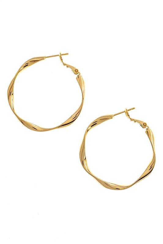 Gold Textured Hoops