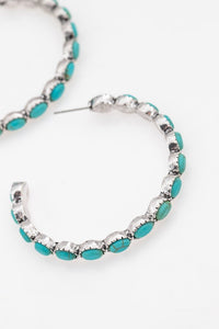 Turquoise Stone Hoops
