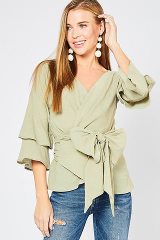 The Faye Sage Wrap Top