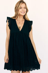 Bay Breeze Black Eyelet Pocketed Romper Dress