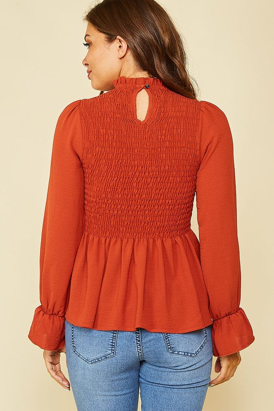 The Halsted Burnt Orange Smocked Top