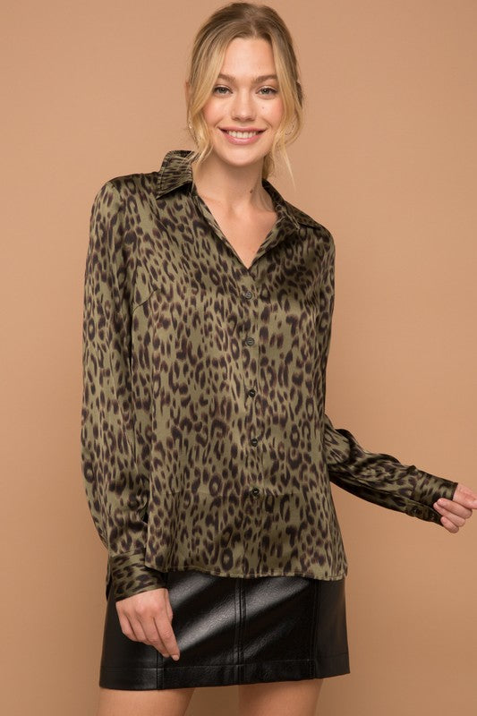 The Myra Olive & Black Leopard Satin Shirt
