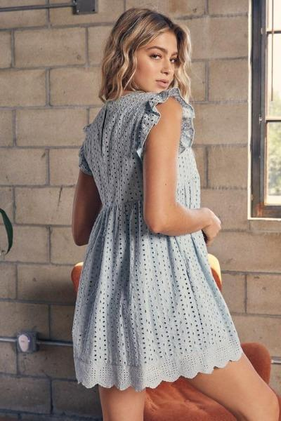 Bay Breeze Blue Eyelet Romper Dress