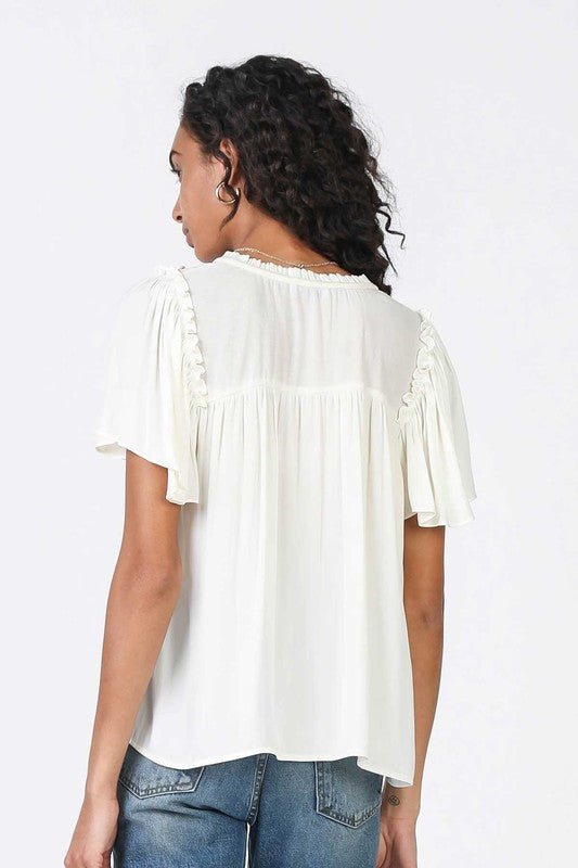 Waverly White Short Sleeve Blouse