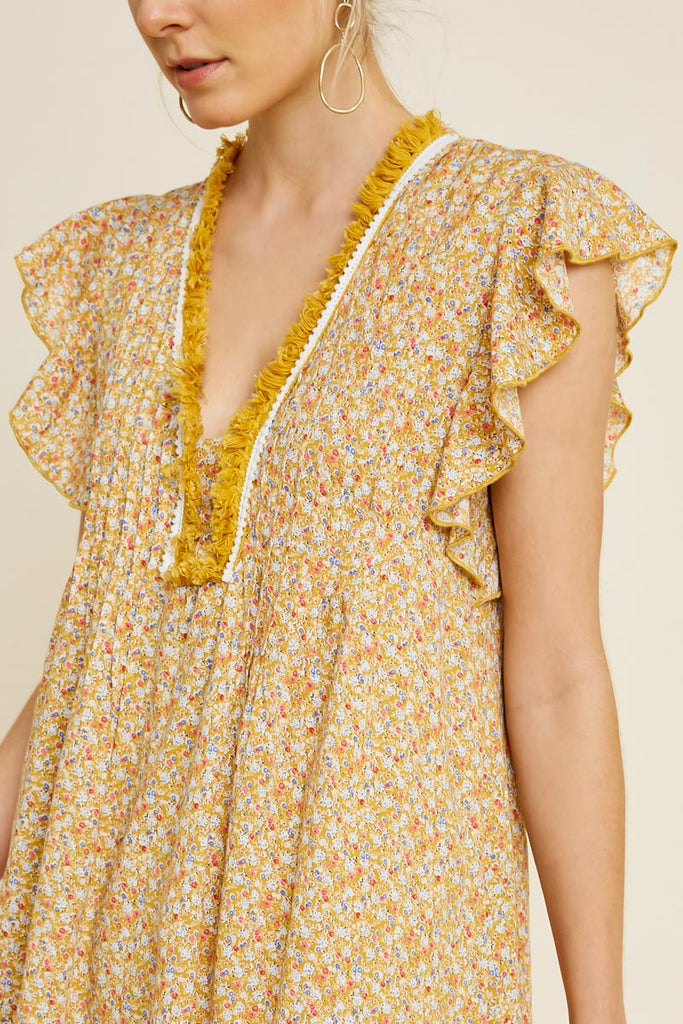 Sedona Yellow Flutter Sleeve Dress
