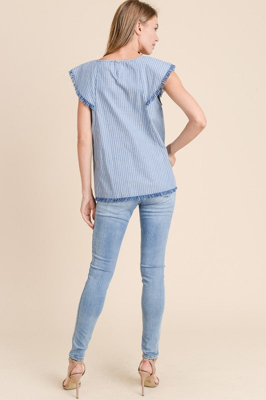 Chambray Sway Striped Flutter Cap Sleeve Top