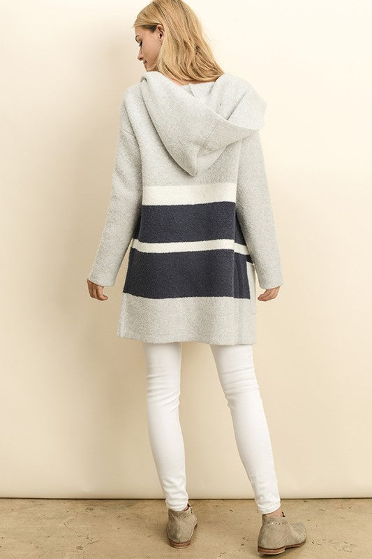 Denver Grey & Navy Hooded Cardigan