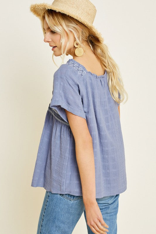 Ophelia Blue Embroidered Smocked Short Sleeve Top