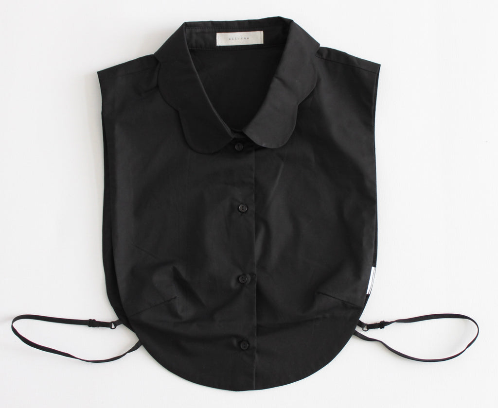 Scalloped Collar Black Bib