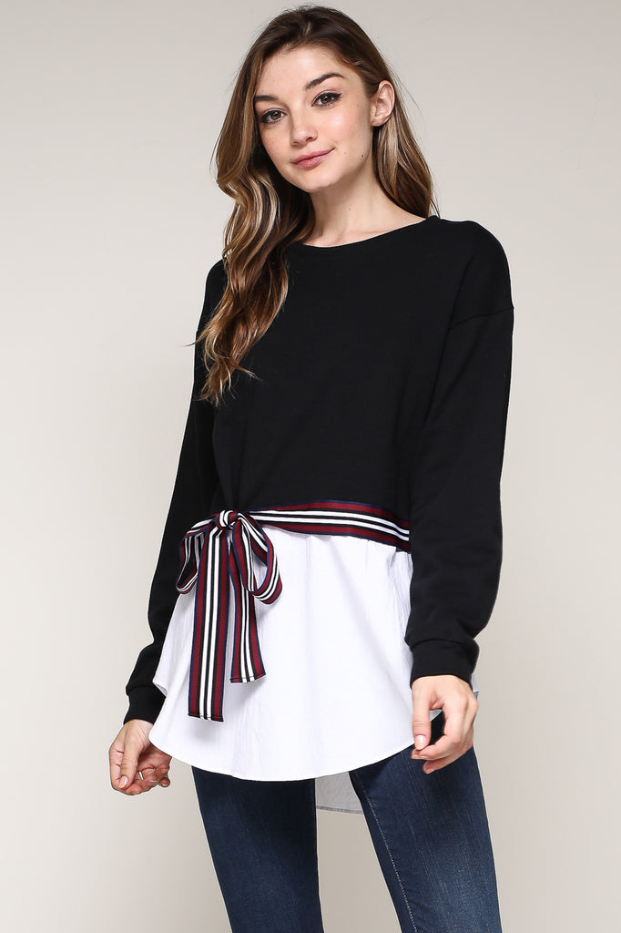 Rhyme and Reason Black Ribbon Tie Top