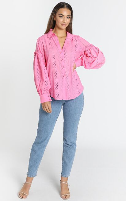Rinna Hot Pink Embroidered Blouse