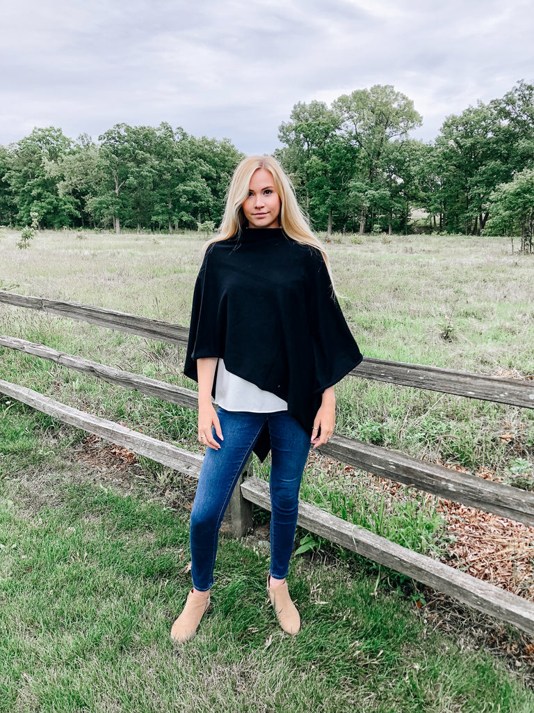 The Oakwood Black Poncho