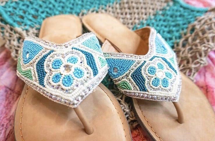 Ocean Wave Blue & Green Beaded Sandals
