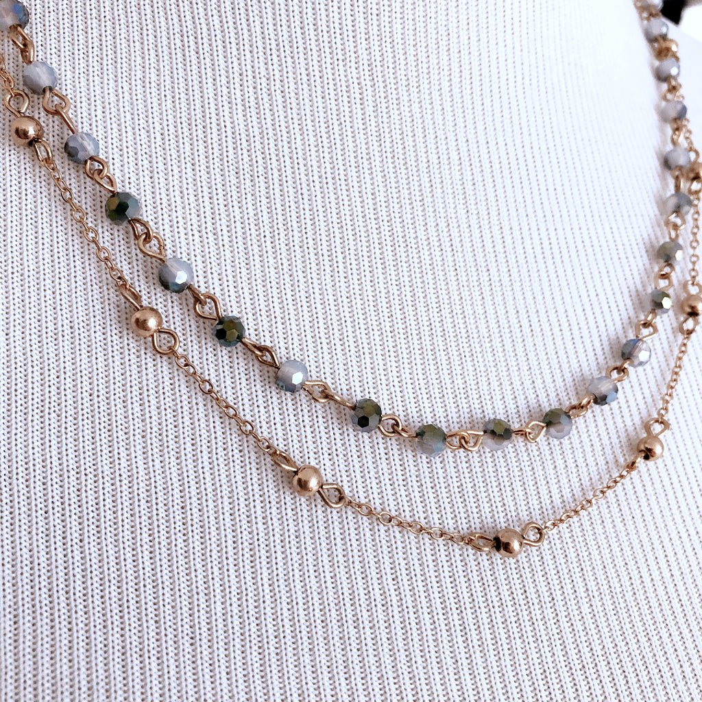 Ryan Double Chain Beaded Necklace