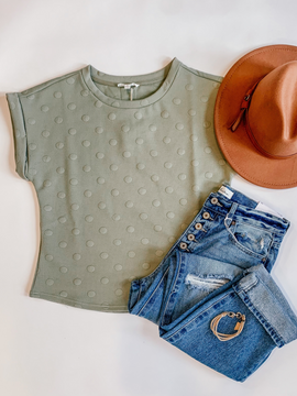 The Ava Button Back Dot Top in Olive