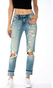 Elliott Distressed High Rise Boyfriend Denim