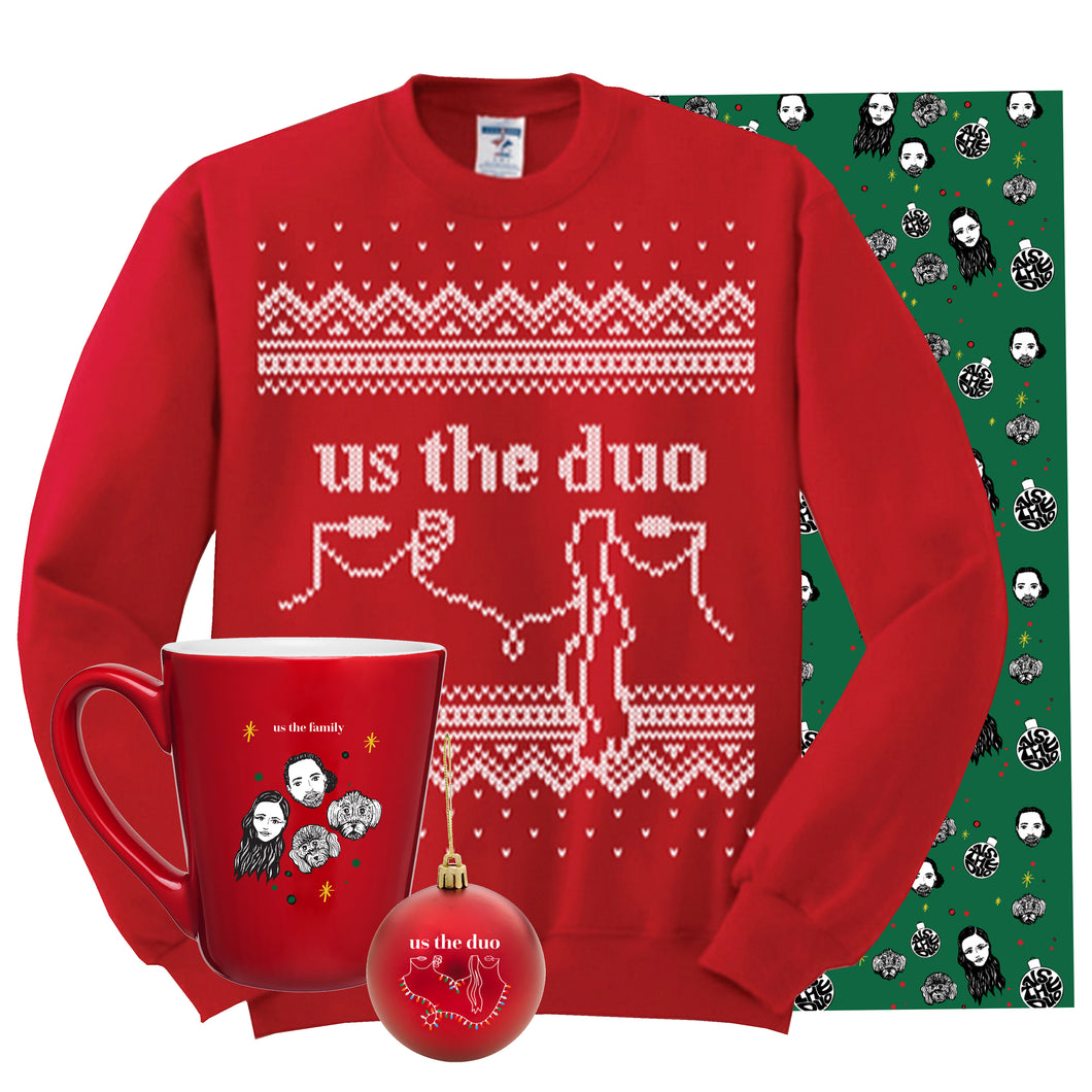 Christmas Sweater + Ornament + Mug + Wrapping Paper