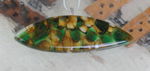 Fused glass pebble pendant with silver chain