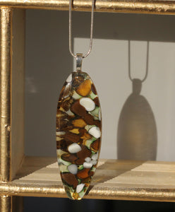 *Organic Pod-Shaped Fused Glass Pendant Pebble Technique