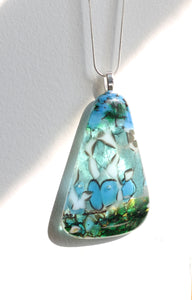 *Organic Triangle Shaped Fused Glass Pendant Pebble Technique