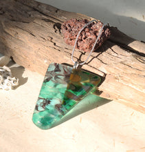 Another view of the triangle fused glass in green and brown Image 3