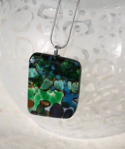Fused glass pebble pendant