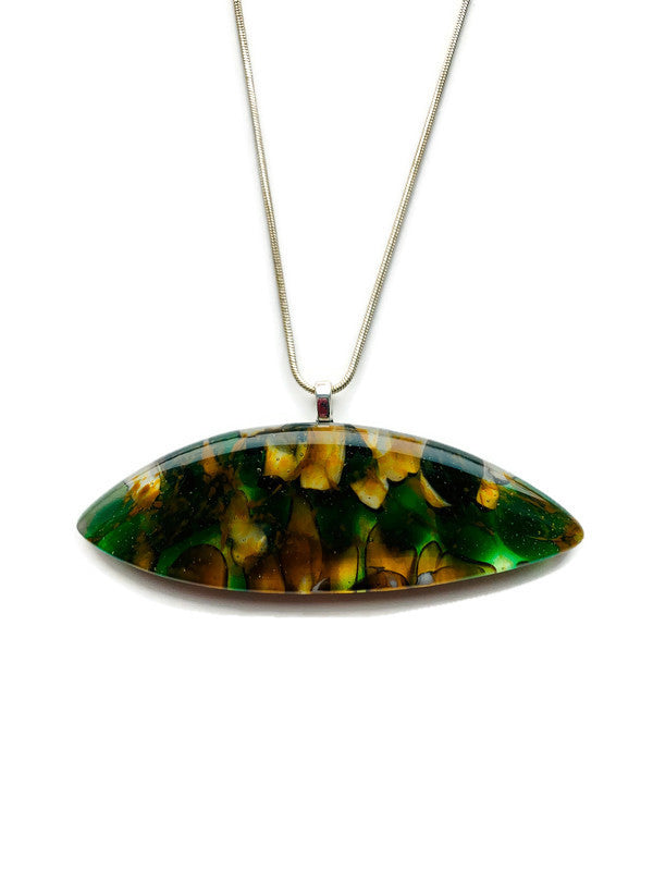 Horizontal pod-shaped fused glass pendant with silver chain