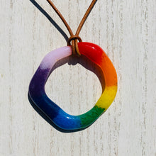 Large Circle Fused Glass Rainbow Pendant Leather Cord - PRIDE