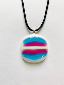 Fused Glass Trans Flag Pendant Horizontal Stripes on Leather Cord - PRIDE