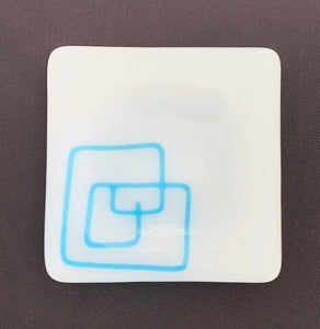Scribble Appetizer Plate - Aqua Blue