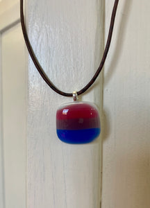 Fused Glass Bisexual Flag Pendant Horizontal Stripes on Leather Cord - PRIDE