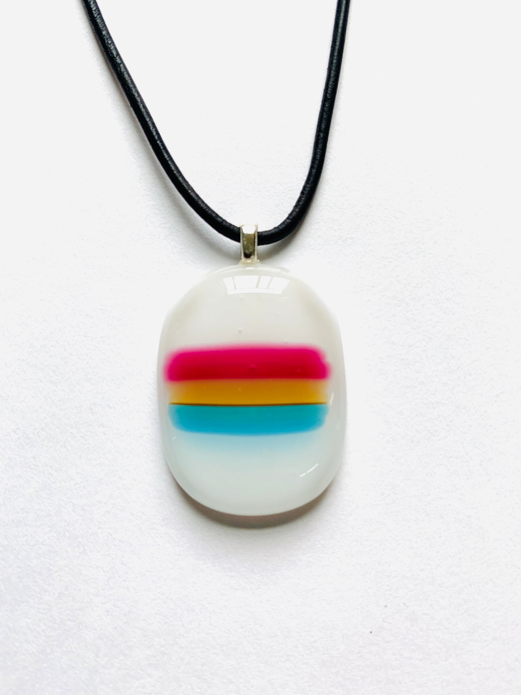 Fused Glass Pan Flag Pendant Horizontal Stripes on Leather Cord - PRIDE