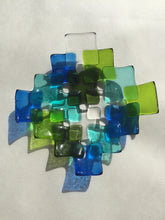 Small multicolor square tile bowl