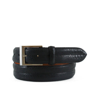Double Barrel Crocodile Embossed Leather Belt