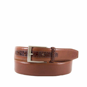 Leather Belt with Genuine Crocodile Tab Detail