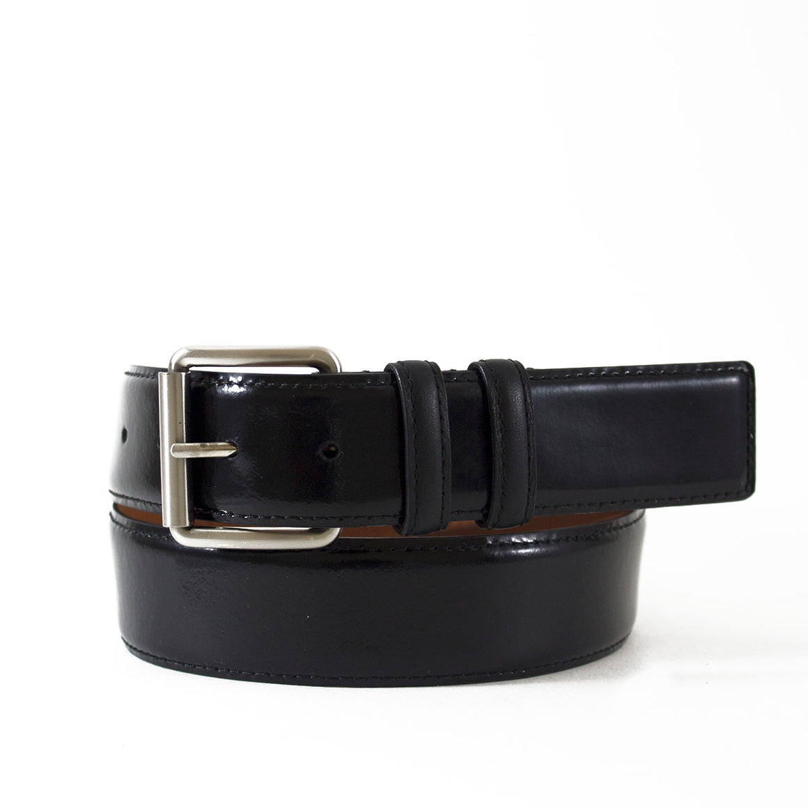 High Gloss Nappa Leather Belt with Matte Nappa Loops
