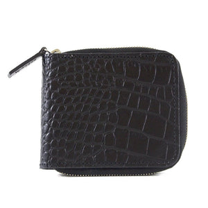Bastille Blue Alligator Embossed Leather Zip-Around Wallet