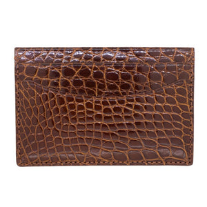 Genuine Shiny Alligator 5-Pocket Curved Card Case with Irish Coffee color