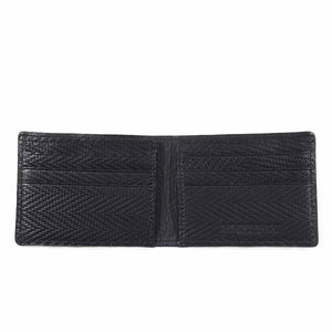 Chevron Embossed Ultra-Slim Leather Wallet with Black color