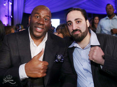© SARTONK. SARTONK President, Ed Majian with Magic Johnson. Photo Credit: Mikey Williams.