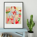 Atomic cowboy driving a DeLorean | Lucia Jones Limited Edition Wall Art Print