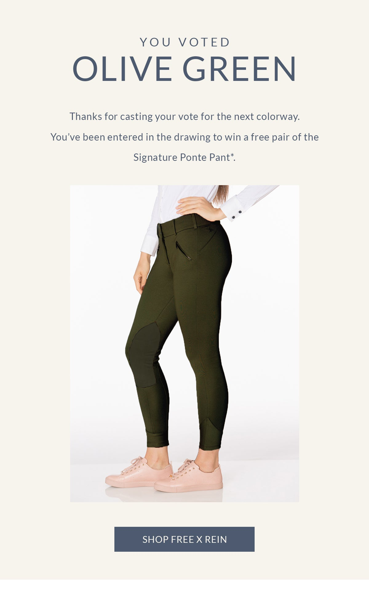 Free x Rein Signature Ponte Pant Olive Green