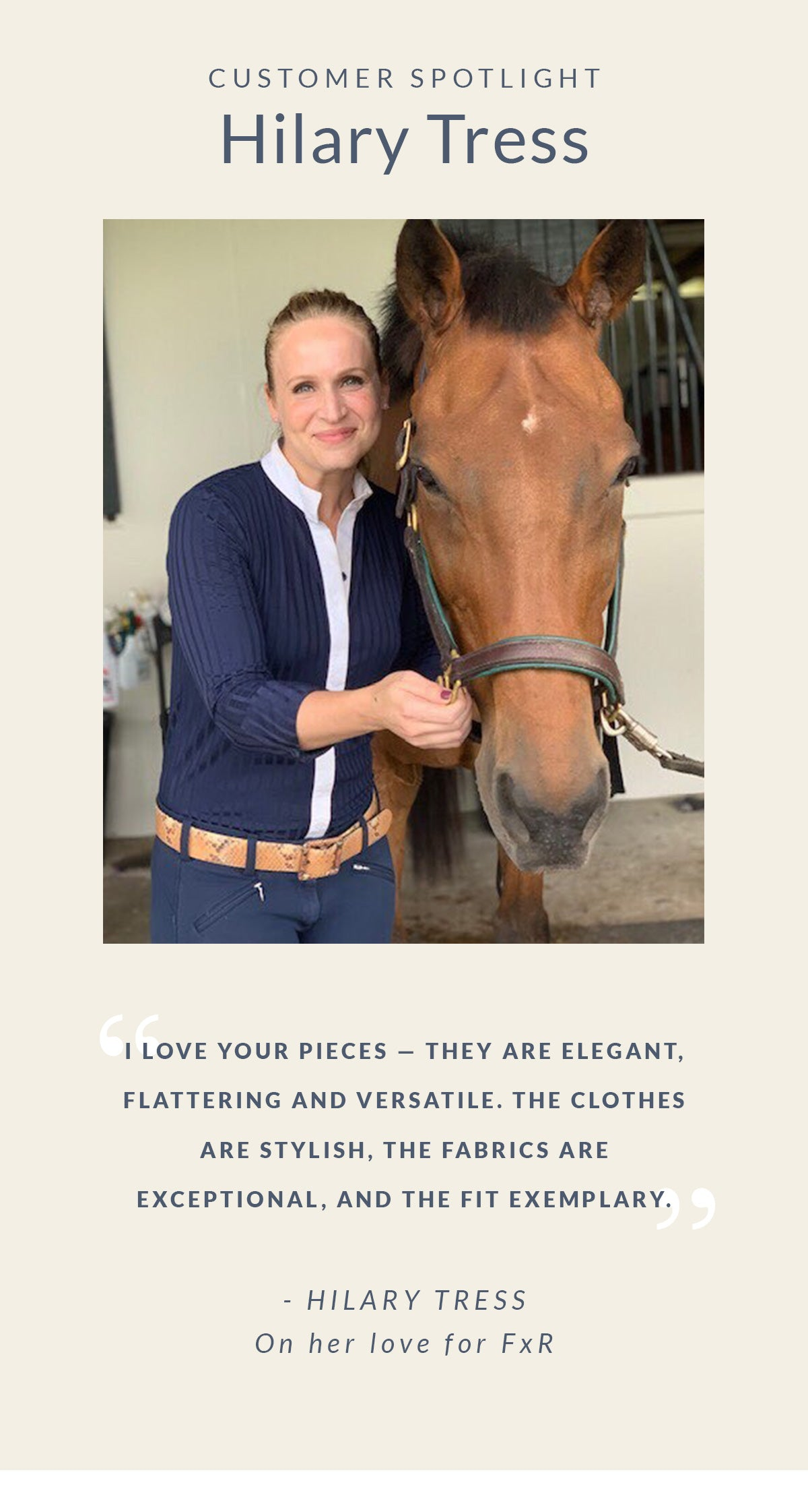 "Customer Spotlight: Hillary Tress. ""I love your pieces - they are elegant, flattering and versatile. The clothes are stylish, the fabrics are exceptional, and the fit exemplary."""
