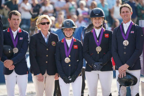 Amanda Derbyshire, Di Lampard, Ben Maher, Holly Smith and Scott Brash representing Great Britain during the 2019 Longines FEI European Championships