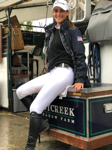 Carly Anthony wearing Free x Rein Hunt Riding Pants in White