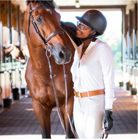 Jordan Allen wearing her Elite Equestrian Bodysuit in white